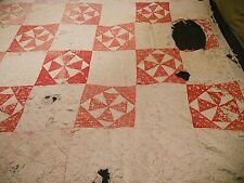Vintage Quilt Homemade Hand Stitched, Pieced and Quilted Well Used 71x65 inch