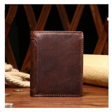 Vintage Genuine Leather Wallets For Mens Credit Card Wallet Coin Zipper Pocket