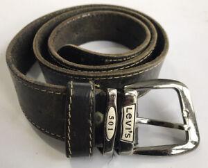 LEVI'S 501 Vintage Black Leather Belt 32 34 36 Western Tooled Retro 70's Mens