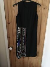 Black Sleeveless Dress Colourfull Pleated Panel To Front Size12