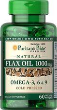Puritan's Pride Non-GMO Natural Flax Oil 1000 mg-60 Rapid Release Softgels (New)