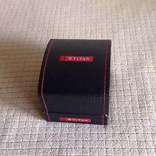 TITAN India Mens watch box EMPTY NEW black red INDIAN BRAND Manual Original WOW