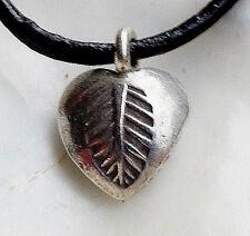 Klein massiv Silber Anhänger Herz Blatt Muster Handarbeit Kettenanhänger Modern