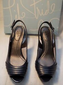 LifeStride Invent Navy F Leather Womens Open Peep Toe High Heel Shoe Pump 10 $60