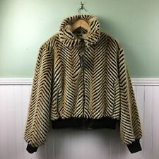 Baby Phat Fawn Chevron Faux Fur Bomber Jacket - size XL - NWT