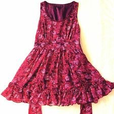 New! Forever 21 Pink Large Women Floral Dress Full Skirt Style Rosettes Lace Red