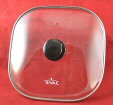 "Rival 11 1/2"" Square Glass & Stainless Steel Replacement Lid Electric Skillet"