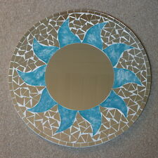 Superb Hand Crafted Mosaic Mirror Sun Design Blue Turquoise Color 40 Cm Wide