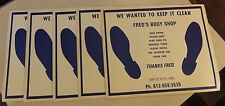 5 VINTAGE FRED'S BODY SHOP SWITZ CITY INDIANA AUTOMOBILE PAPER FLOOR MATS