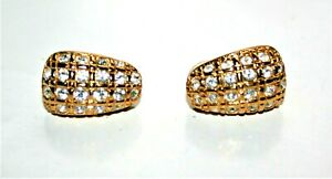 Signed Swarovski Pave Clear Crystals Gold-tone Clip-on Earrings New with Tag