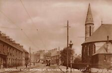 More details for vintage rp postcard, woodvale road showing st. matthews church, shankill belfast
