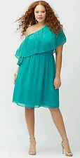LANE BRYANT 14/16 TEAL GREEN OFF ONE SHOULDER PLEATED CHIFFON DRESS