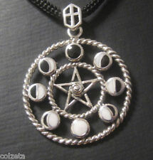 PHASES OF THE MOON inlaid with BLACK & WHITE ENAMEL .925 silver by Peter Stone