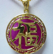 Fashion Purple Jade Fortune Luck Letter Yellow Gold Plated Pendant