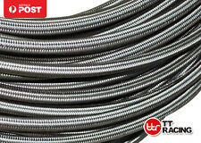 "AN6 6-AN AN-6 8mm 5/16"" STAINLESS STEEL BRAIDED OIL FUEL LINE HOSE 1M 3.3FT"