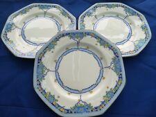 3 x Vintage 1930s Royal Doulton Deco Arvon Blue 17cm plates