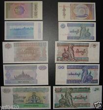 Burma / Myanmar Paper Money Set Of 5 Pieces Unc