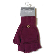 WOMENS LADIES PURPLE MAGIC FINGERLESS COMBO MITTEN STRETCH GLOVES