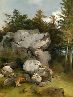 Dream-art Oil painting Fox and its prey in summer forest landscape don't miss it