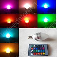 3W E14 LED RGB Candle Lamp Bulb  Remote Control Flash Colorful Light 16 colors