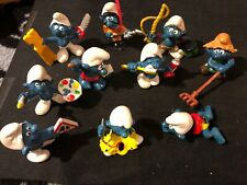 Smurfs Papa Smurf Vintage Figures Rare PVC Toy Schleich Lot Of 10 See Pictures