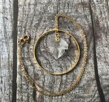 Gold Hoop & Frosted Clear Lucite Leaf Necklace