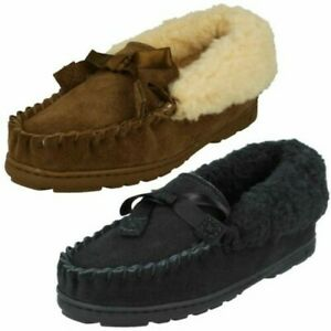 'Ladies Bear Paw' Leather Bow Detailed Slippers - Indio