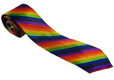 Retro Colorata Arcobaleno Gay Pride Skinny Multicolore Cravatta Costume Festa.