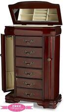 Jewelry Armoire Box Chest Stand Storage Organizer Cabinet Case Necklace Walnut