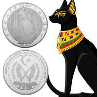 WR Egyptian Goddess Bastet 100 Ptas Cat 999 Silver Coin Western Sahara Keepsake
