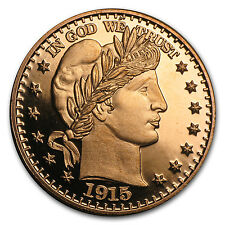 1 oz Copper Round - Barber Half Dollar - SKU #89969