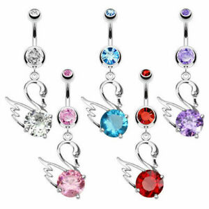 Belly Button Piercing Swan Silver with Zirconia Crystal Surgical Steel Piercing