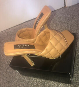 Asos Camel Quilted Padded Slip On Sandals Shoes Sz 4 New