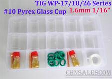 "28 pcs TIG Welding Stubby Gas Lens #10 Pyrex Cup Kit  WP-17/18/26 Torch  1/16"""