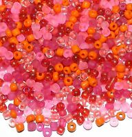 SB1925 Pink Party Pinks & Oranges 6/0 4mm Glass Seed Bead Premium Mix 1oz