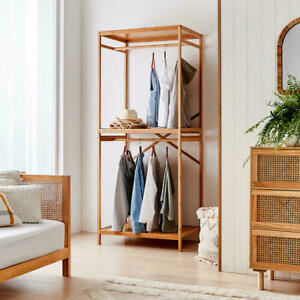 New 2021 Garment Rack Clothes Stand Hanging Rail Stand Bamboo with Top Shelves R