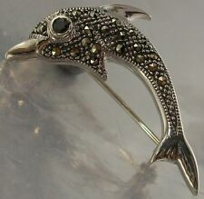 925 STERLING SILVER MARCASITE blue CZ Dolphin BROOCH oxidised 20mm x 31mm, 3.3g