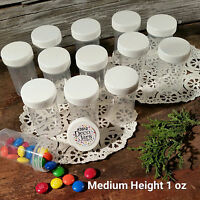 "12 Pill Jars 2+"" tall Screw White Cap 1 ounce Drug Travel Container 3812 USA New"