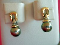 David Yurman Sterling Silver 18K Gold Tahitian Gray Pearl Drop Dangle Earrings