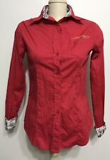 Ed Hardy By Christian Audgier Red Botton Down Women Long Sleeve Size Medium