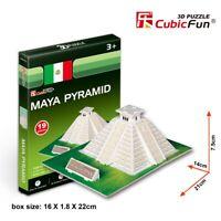 World's Great Architecture Maya Pyramid 19 Piece 3D Model DIY Hobby Build Kit