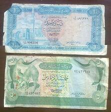 Libia: 2 Antiguos Billetes. 1 Dinar (mezquita) y 5 dinares (camellos). usado estado.
