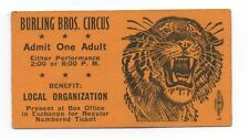 1930s Burling Bros Circus Ticket w/ Tiger Graphics