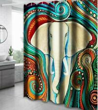 Bath Shower Curtain Bathroom Bathtub Cover Painting Art Home Decor with Hooks