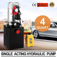 4 QUART SINGLE ACTING HYDRAULIC PUMP DUMP TRAILER CAR LIFT CONTROL KIT CRANE