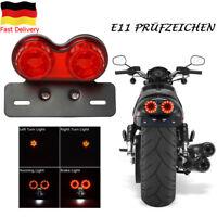 LED Motorrad Rücklicht Blinker Bremslicht Heckleuchte Nummernschild Lampe Rot