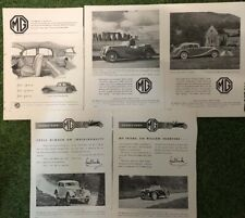 Five 1937-38 MG British B&W Advertisements T SERIES MIDGET VA 1 1/2 SA 2 LITRE