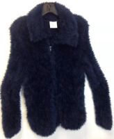 Vintage Miss B Fuzzy Navy Blue Zip-Up Jacket Women's Size Small S / M