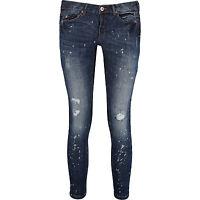 Diamonds & Divas Blue Distressed Cigarette 3/4 crop Jeans size 8,10,12,14