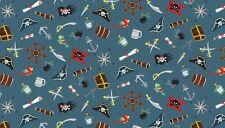 Fat Quarter Piratas ICONO Variedad Azul 100% algodón acolchada Tela Makower